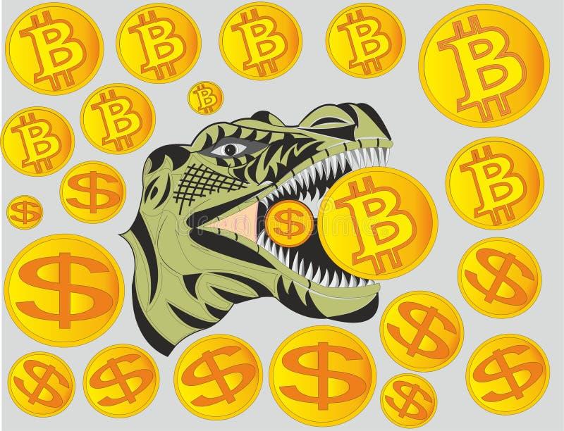 Δεινόσαυροι του οικονομικού συστήματος διανυσματική απεικόνιση