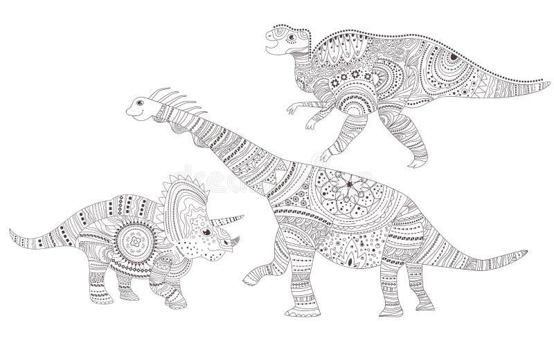 Δεινόσαυροι Χρωματίζοντας σελίδα διάνυσμα cartoon Απομονωμένη τέχνη διανυσματική απεικόνιση