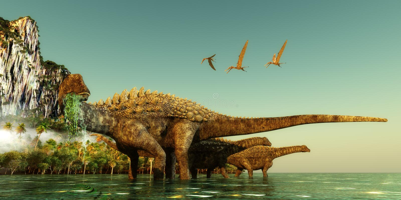 Δεινόσαυροι Ampelosaurus στοκ εικόνες με δικαίωμα ελεύθερης χρήσης