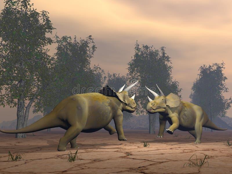 Δεινόσαυροι Triceratops που παλεύουν - τρισδιάστατοι δώστε ελεύθερη απεικόνιση δικαιώματος