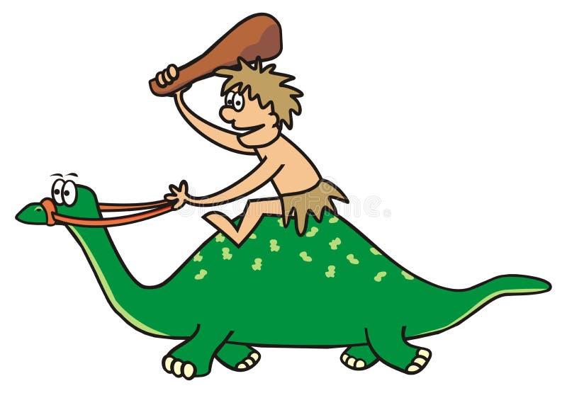 Δεινόσαυρος και προϊστορικό άτομο ελεύθερη απεικόνιση δικαιώματος