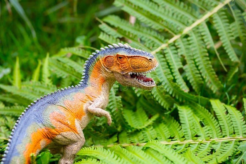 Δεινόσαυρος με τα μεγάλα δόντια στη ζούγκλα Πρότυπο δεινοσαύρων στοκ φωτογραφίες με δικαίωμα ελεύθερης χρήσης