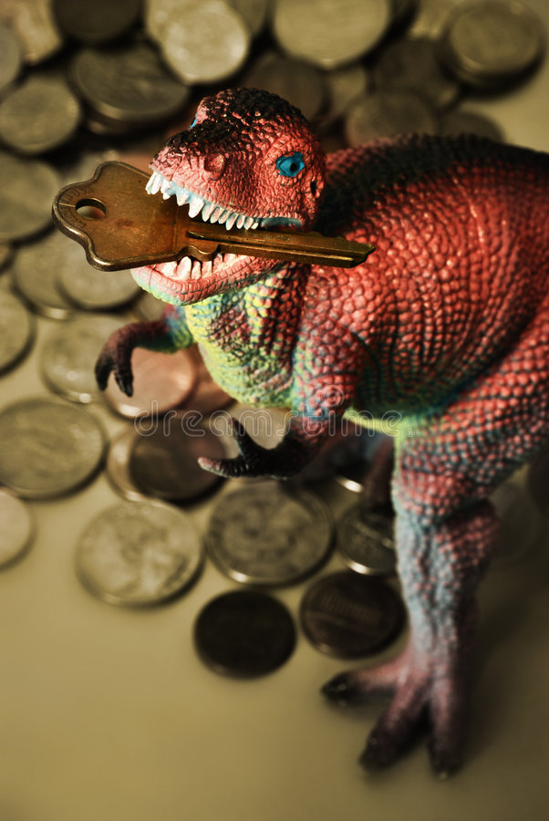 Δεινόσαυρος με το πλήκτρο στο στόμα στοκ φωτογραφία με δικαίωμα ελεύθερης χρήσης