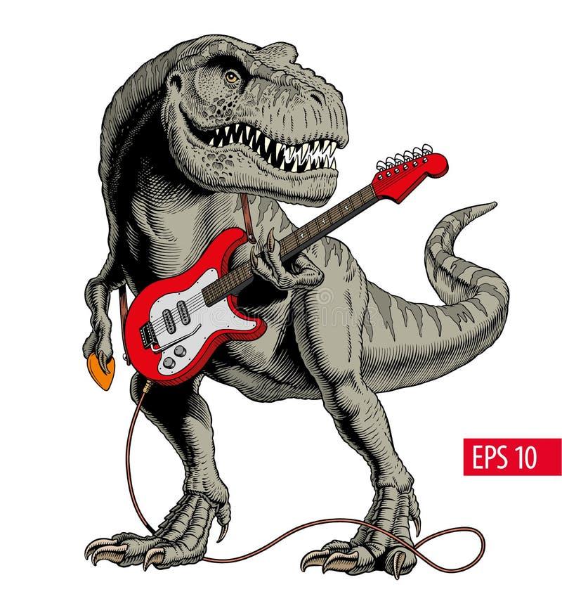Δεινόσαυρος που παίζει την ηλεκτρική κιθάρα Τυραννόσαυρος ή Τ rex επίσης corel σύρετε το διάνυσμα απεικόνισης διανυσματική απεικόνιση