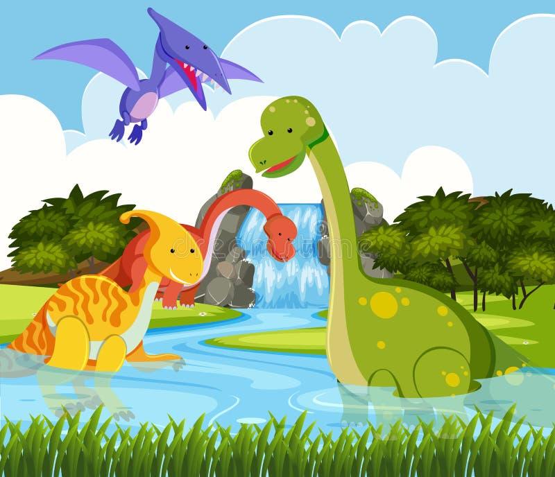 Δεινόσαυρος στη φύση ελεύθερη απεικόνιση δικαιώματος