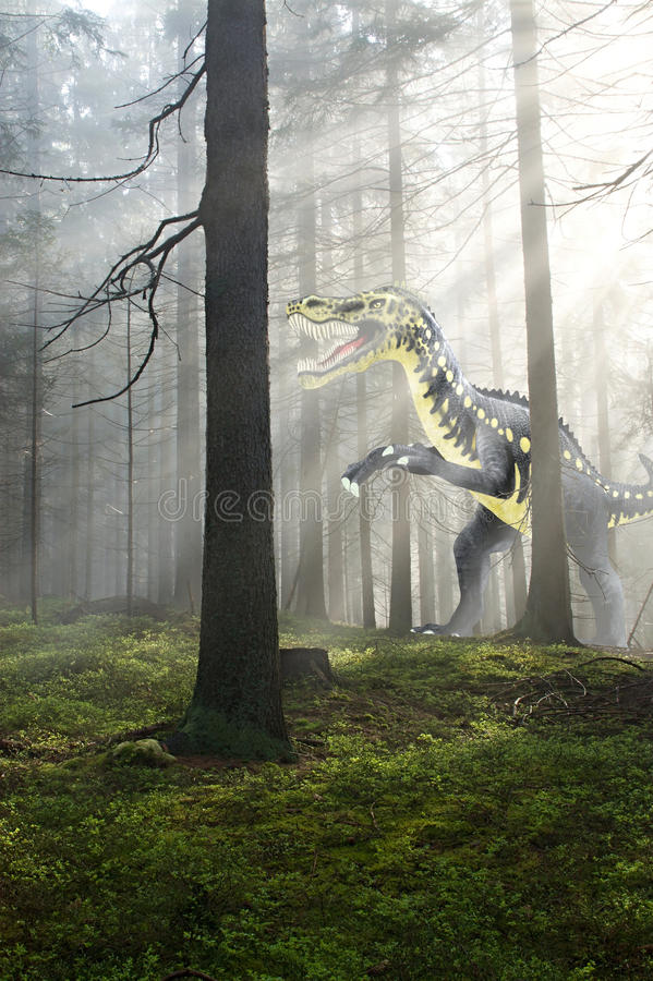Δεινόσαυρος στο δάσος στοκ φωτογραφίες με δικαίωμα ελεύθερης χρήσης