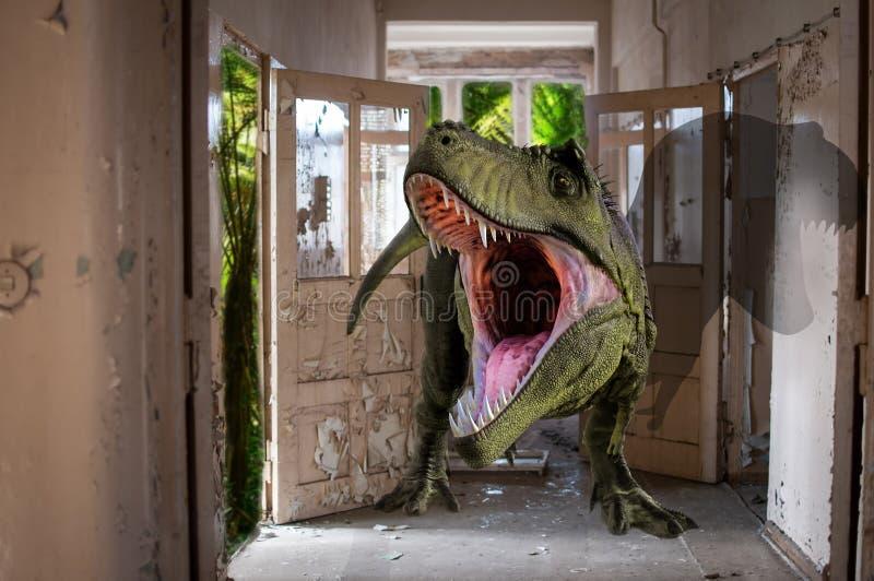 Δεινόσαυρος στο κτήριο στοκ εικόνα