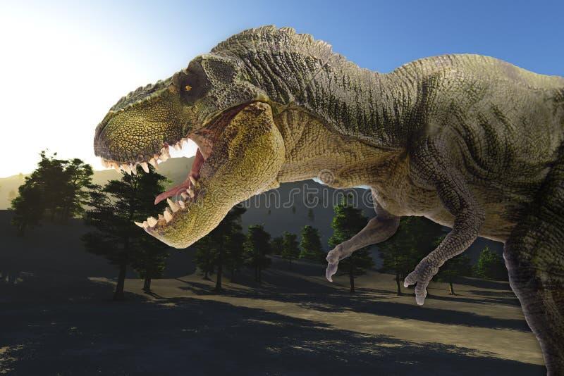 Δεινόσαυρος στο τοπίο βουνών στοκ εικόνες