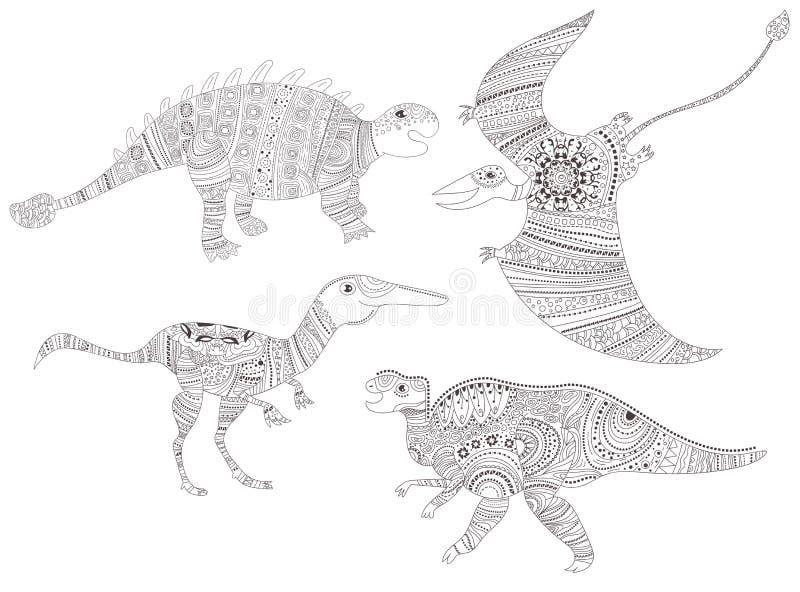 δεινόσαυρος Χρωματίζοντας σελίδα για το διάνυσμα παιδιών και ενηλίκων cartoon απομονωμένος ελεύθερη απεικόνιση δικαιώματος