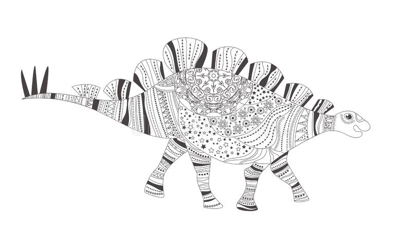 δεινόσαυρος Χρωματίζοντας σελίδα διάνυσμα cartoon Απομονωμένη τέχνη στο λευκό απεικόνιση αποθεμάτων