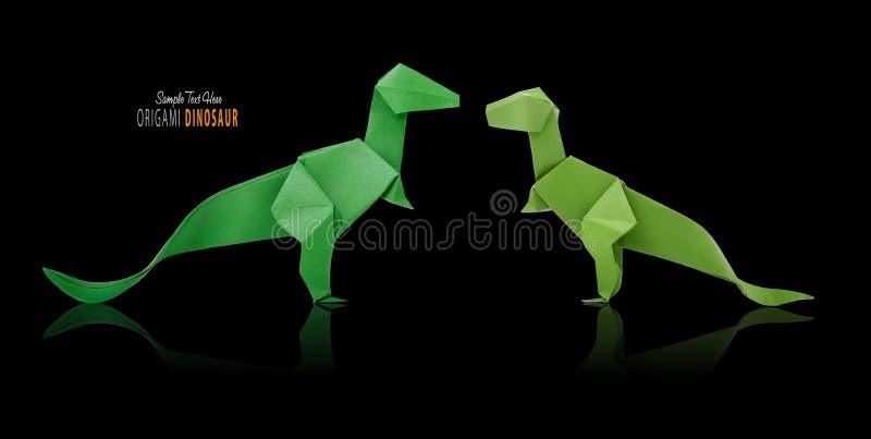 Δεινόσαυρος Origami στο Μαύρο στοκ φωτογραφία