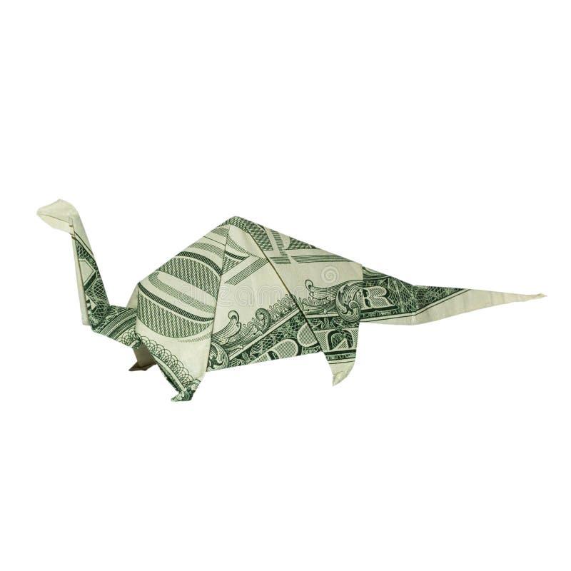 Δεινόσαυρος Origami APATOSAURUS BRONTOSAURUS χρημάτων που διπλώνεται με πραγματικό το δολάριο Μπιλ στοκ φωτογραφίες με δικαίωμα ελεύθερης χρήσης
