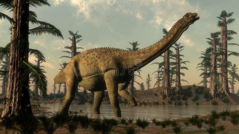 Δεινόσαυρος Uberabatitan στη λίμνη - τρισδιάστατη δώστε ελεύθερη απεικόνιση δικαιώματος