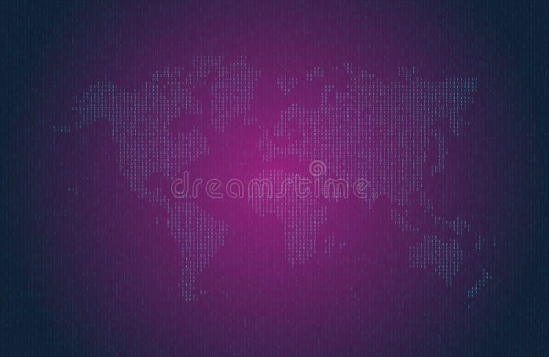 Δεκαεξαδικός κώδικας υπολογιστών υπό μορφή σκιαγραφίας του παγκόσμιου χάρτη Μπλε σύμβολα στο σκοτεινό υπόβαθρο ελεύθερη απεικόνιση δικαιώματος