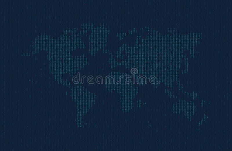 Δεκαεξαδικός κώδικας υπολογιστών υπό μορφή σκιαγραφίας του παγκόσμιου χάρτη Μπλε σύμβολα στο σκοτεινό υπόβαθρο διανυσματική απεικόνιση
