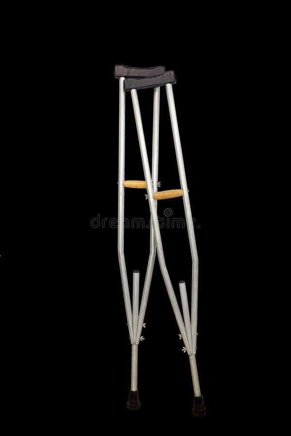 Δεκανίκι που απομονώνεται στο μαύρο υπόβαθρο στοκ φωτογραφία με δικαίωμα ελεύθερης χρήσης