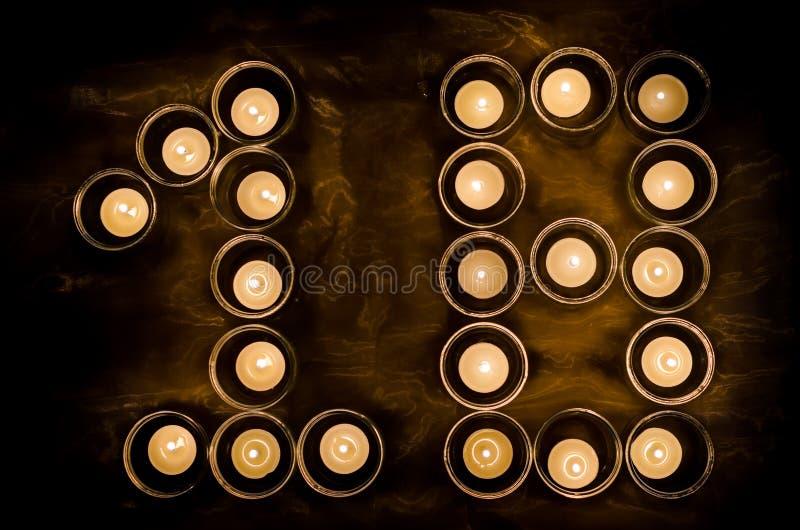 Δεκαοχτώ φιαγμένα από κεριά στοκ εικόνες