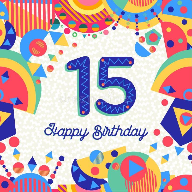 Δεκαπέντε αριθμός ευχετήριων καρτών γενεθλίων 15 ετών διανυσματική απεικόνιση