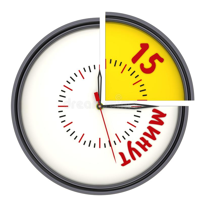 """Δεκαπέντε λεπτά στο ρολόι Κείμενο μεταφράσεων: """"Δεκαπέντε λεπτά """" διανυσματική απεικόνιση"""