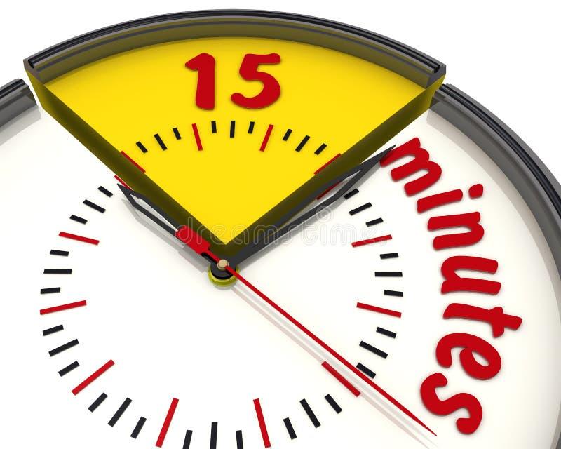 Δεκαπέντε λεπτά στο ρολόι απεικόνιση αποθεμάτων