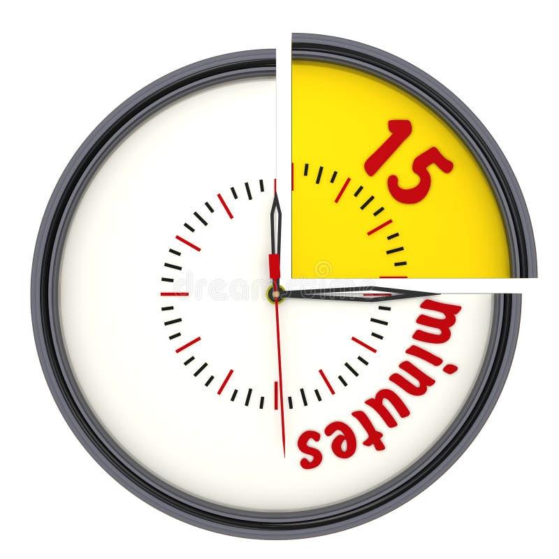 Δεκαπέντε λεπτά στο ρολόι ελεύθερη απεικόνιση δικαιώματος