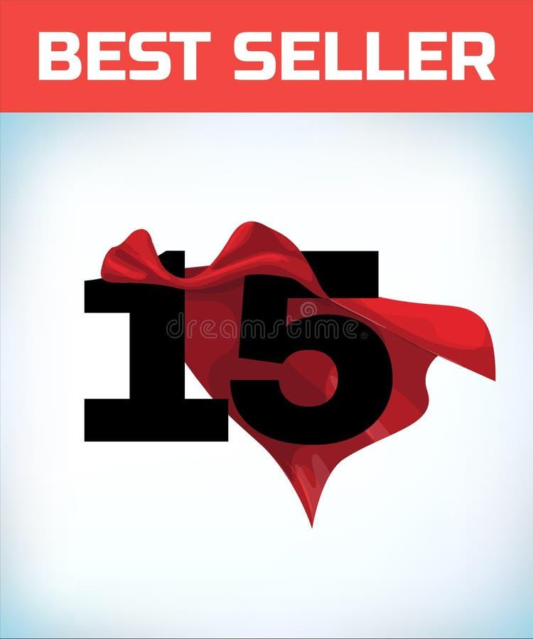Δεκαπέντε στο κόκκινο ακρωτήριο ηρώων Έξοχος επενδύτης Υπερδύναμη E Σημάδι ηγεσίας Σύμβολο Superhero διανυσματική απεικόνιση