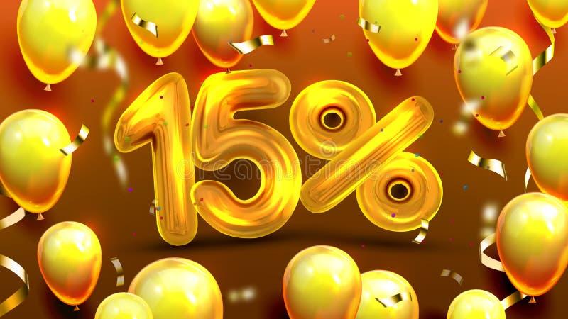 Δεκαπέντε τοις εκατό ή διάνυσμα προσφοράς μάρκετινγκ 15 ελεύθερη απεικόνιση δικαιώματος
