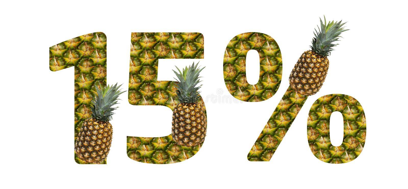 Δεκαπέντε τοις εκατό που γίνονται από τον ανανά σε ένα άσπρο υπόβαθρο Τροπικά θερινά τρόφιμα διατροφής ανανά φρούτων απεικόνιση αποθεμάτων