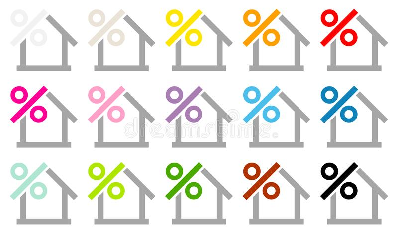 Δεκαπέντε χρώματα τοις εκατό εικονιδίων σπιτιών και γκρίζος διανυσματική απεικόνιση