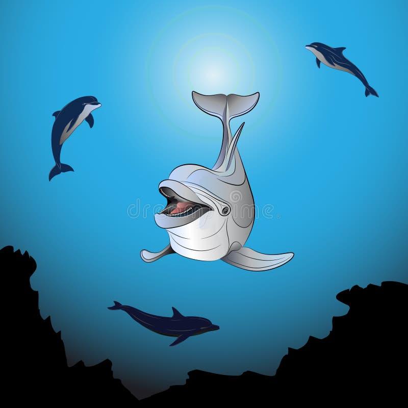 δελφίνια που παίζουν τη θ διανυσματική απεικόνιση