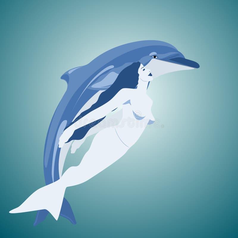 Δελφίνι και γοργόνα ελεύθερη απεικόνιση δικαιώματος