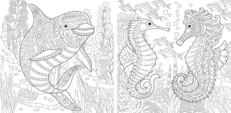 Δελφίνι Zentangle και σύνολο Seahorse διανυσματική απεικόνιση