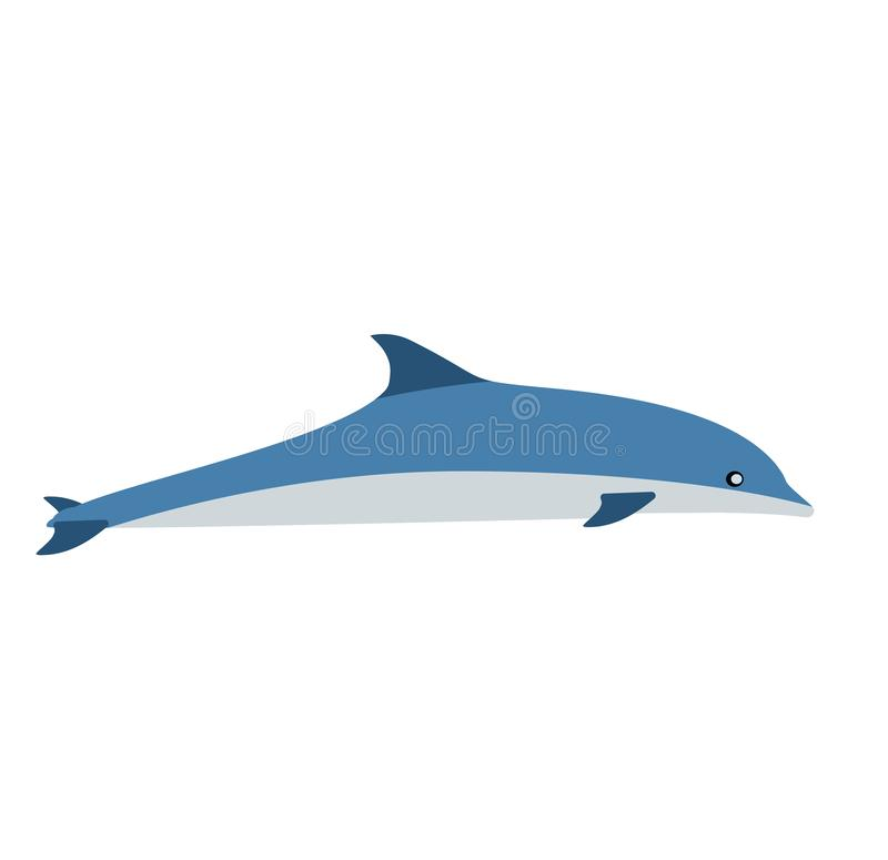 Δελφινιών μπλε θηλαστικών διανυσματικό εικονίδιο συμβόλων τέχνης γραφικό Το ζωικό ενυδρείο θάλασσας παρουσιάζει στην απεικόνιση π απεικόνιση αποθεμάτων