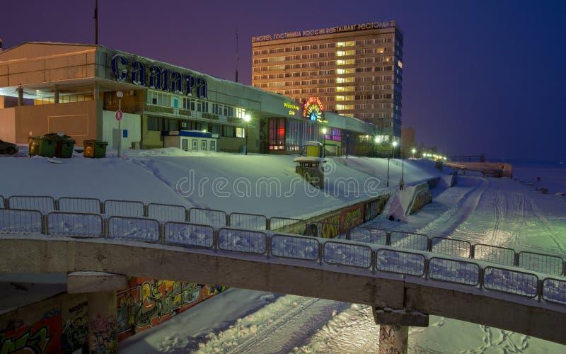 δεμένη όψη σκαφών λιμένων νύχτας Λιμένας ποταμών της πόλης της Samara στοκ εικόνα