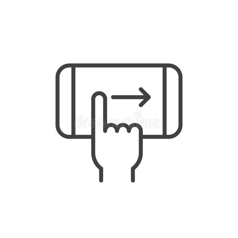 Δεξί εικονίδιο γραμμών χειρονομίας ισχυρών κτυπημάτων δάχτυλων απεικόνιση αποθεμάτων