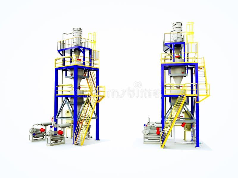 Δεξαμενές για την αποθήκευση του σιτοβολώνα σιταριού Κατασκευή σιλό Απομονώστε στο λευκό απεικόνιση αποθεμάτων