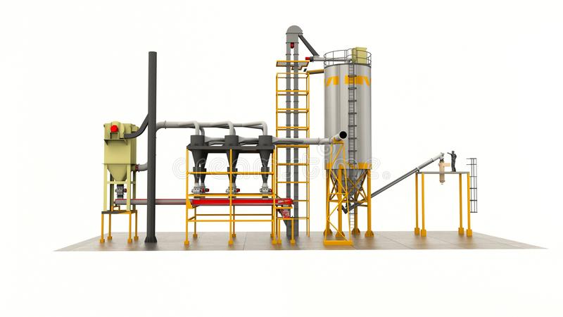 Δεξαμενές για την αποθήκευση του σιτοβολώνα σιταριού Κατασκευή σιλό Απομονώστε στο λευκό διανυσματική απεικόνιση