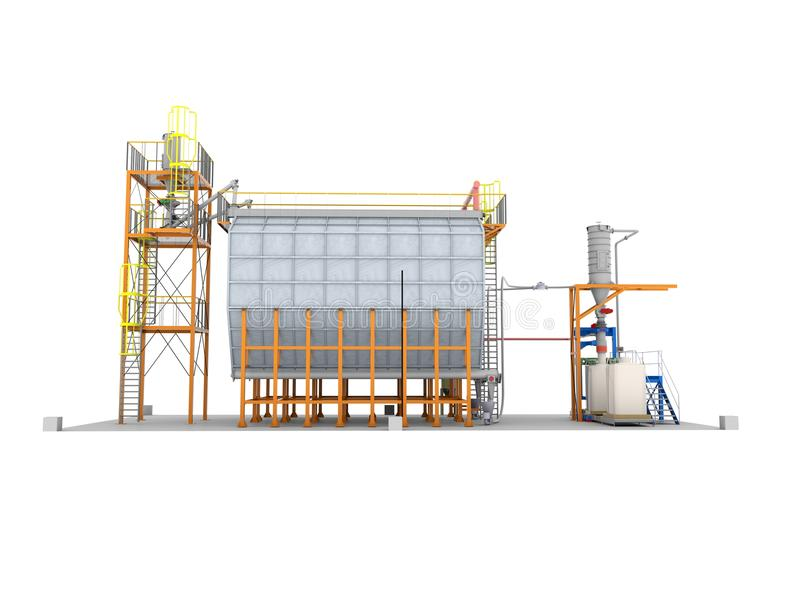 Δεξαμενές για την αποθήκευση του σιτοβολώνα σιταριού Κατασκευή σιλό Απομονώστε στο λευκό ελεύθερη απεικόνιση δικαιώματος