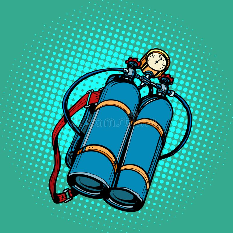 Δεξαμενή οξυγόνου για το δύτη Υποβρύχια κολύμβηση απεικόνιση αποθεμάτων