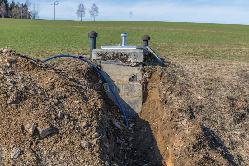 Δεξαμενή πόσιμου νερού Digged καλά και του φυσικού ελατηρίου, Γερμανία στοκ εικόνες