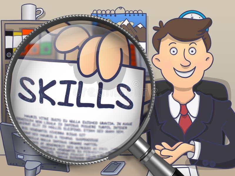 Δεξιότητες μέσω της ενίσχυσης - γυαλί Έννοια Doodle διανυσματική απεικόνιση