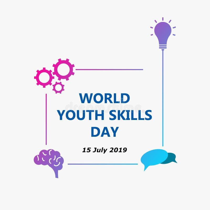 Δεξιότητες παγκόσμιας νεολαίας ημέρα 2019 διανυσματική απεικόνιση