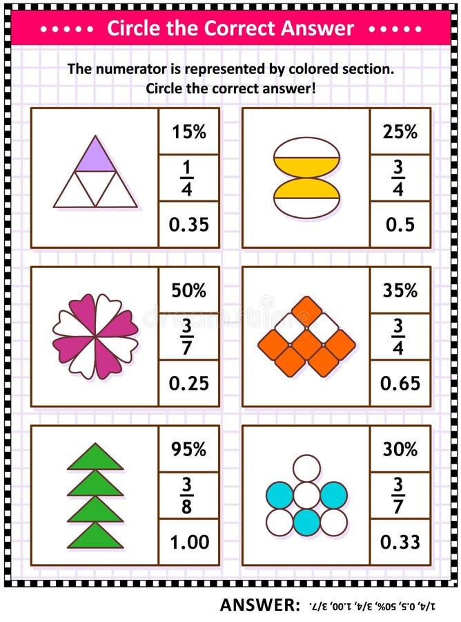 Δεξιότητες Math που εκπαιδεύουν το γρίφο ή το φύλλο εργασίας με τα οπτικά μέρη απεικόνιση αποθεμάτων