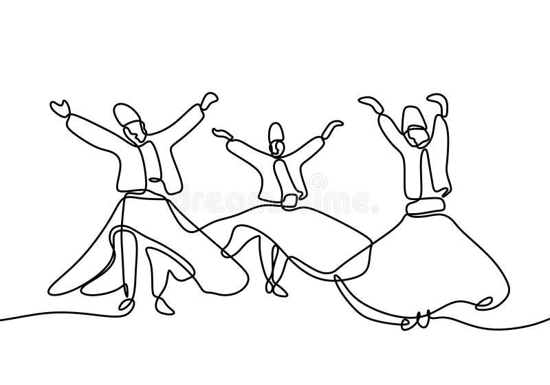 Δερβίσης Whirling συνεχής μινιμαλιστικό σχέδιο σχεδίων γραμμών στο άσπρο ύφος μινιμαλισμού απεικόνισης υποβάθρου διανυσματικό απεικόνιση αποθεμάτων