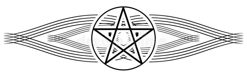 Δερματοστιξία πεντάλφας στη μαύρη διακόσμηση που απομονώνεται ελεύθερη απεικόνιση δικαιώματος