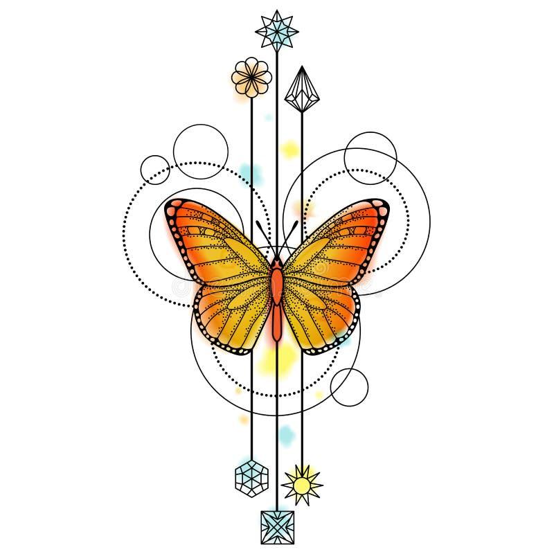Δερματοστιξία Watercolor πεταλούδων ελεύθερη απεικόνιση δικαιώματος