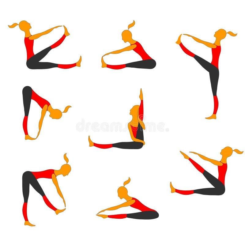 Δεσμευμένη κορίτσια γυμναστική Διανυσματικό σύνολο κινούμενων σχεδίων απεικόνιση αποθεμάτων