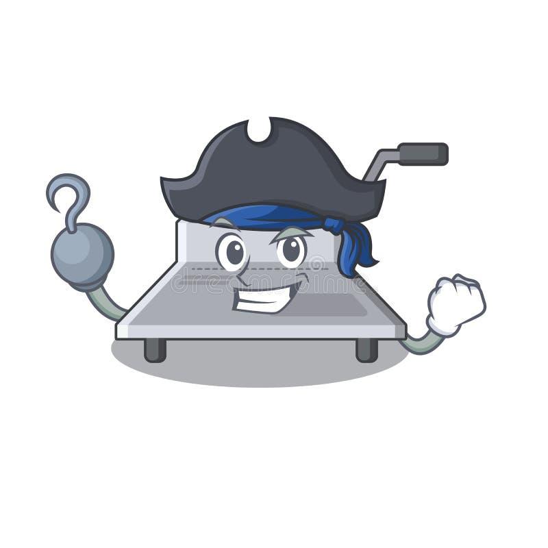Δεσμευτική μηχανή πειρατών που απομονώνεται στη μασκότ διανυσματική απεικόνιση