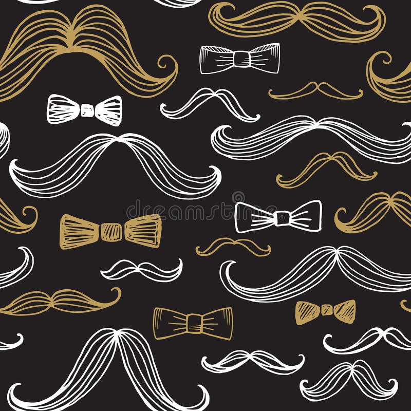 Δεσμός τόξων και άνευ ραφής σχέδιο Moustache επίσης corel σύρετε το διάνυσμα απεικόνισης διανυσματική απεικόνιση