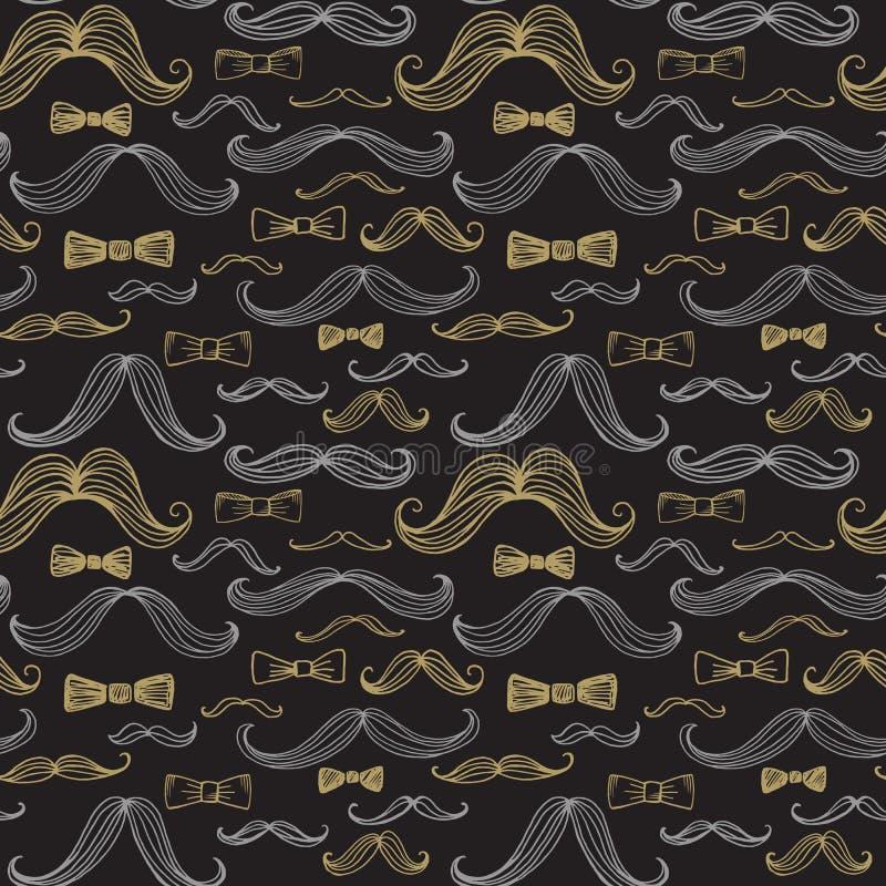 Δεσμός τόξων και άνευ ραφής σχέδιο Moustache επίσης corel σύρετε το διάνυσμα απεικόνισης απεικόνιση αποθεμάτων